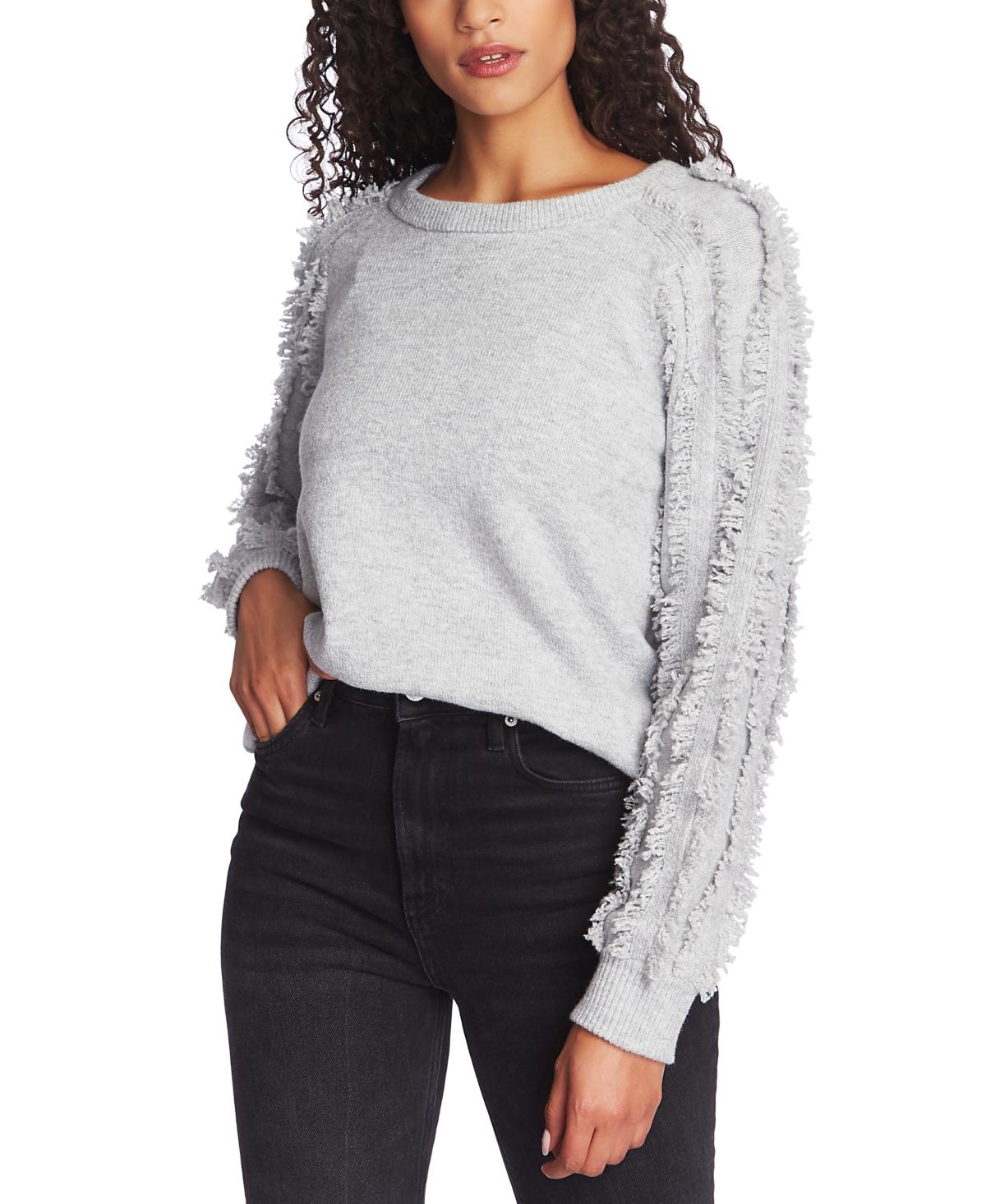1.state Fringe-Sleeve Crewneck Sweater