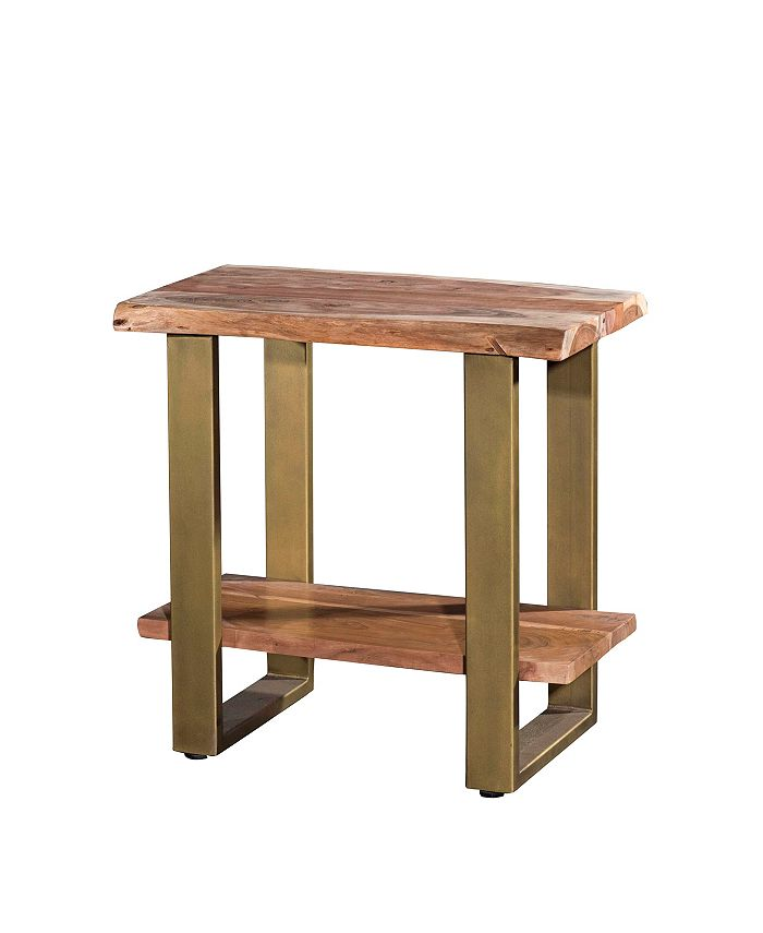 Villa2 - Artisan Live Edge Acasia Wood 2 Shelf Side Table/Nightstand