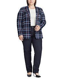 Lauren Ralph Lauren Plus Size Plaid Jacquard Blazer