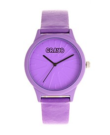 Unisex Splat Purple Leatherette Strap Watch 38mm