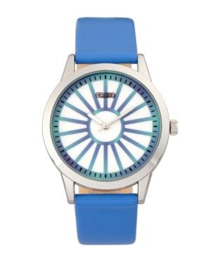 Unisex Electric Blue Leatherette Strap Watch 41mm