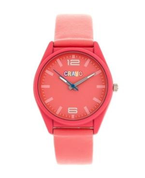 Unisex Dynamic Pink Leatherette Strap Watch 36mm