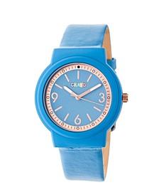 Unisex Vivid Blue Leatherette Strap Watch 36mm