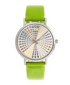 Crayo Unisex Fortune Lime Genuine Leather Strap Watch 38mm