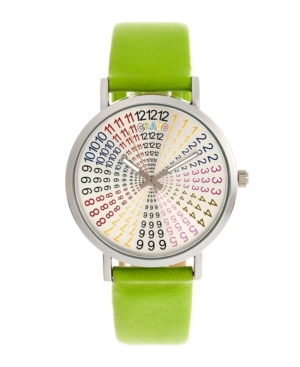 Unisex Fortune Lime Genuine Leather Strap Watch 38mm