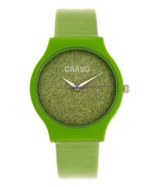 Unisex Glitter Green Leatherette Strap Watch 36mm