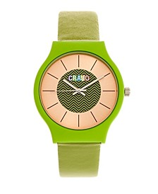 Unisex Trinity Green Leatherette Strap Watch 36mm