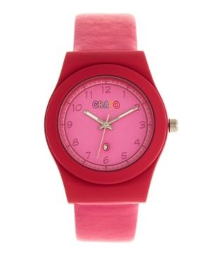 Unisex Dazzle Pink Genuine Leather Strap Watch 37mm