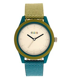 Unisex Pleasant Olive, Teal Leatherette Strap Watch 39mm