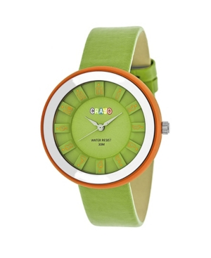 Unisex Celebration Green Genuine Leather Strap Watch 38mm