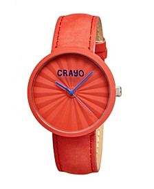 Unisex Pleats Red Genuine Leather Strap Watch 40mm