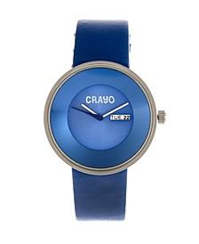 Unisex Button Blue Genuine Leather Strap Watch 40mm