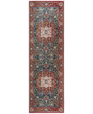 """Camille LRL1225A Red and Navy 2'6"""" X 8' Runner Area Rug"""