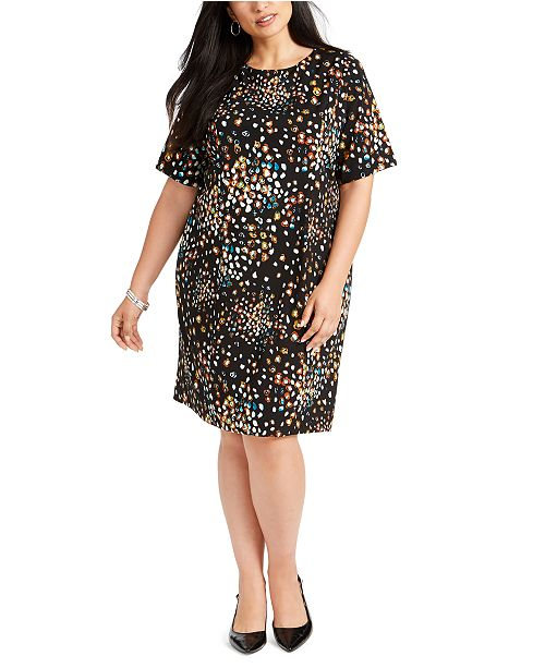 Plus Size Printed Sheath Dress, Created For Macy\'s