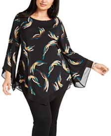 Alfani Plus Size V-Hem Blouse, Created for Macy's