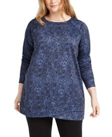 Ideology Plus Size Printed Crossover-Hem Top