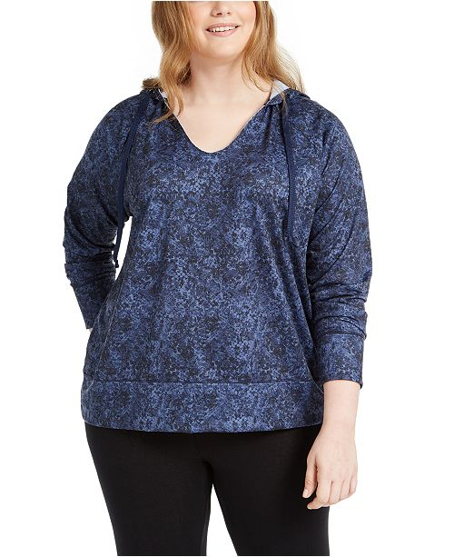 Ideology Plus Size Python-Print Hoodie, Created for Macy's