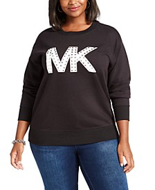 Plus Size Studded Logo Sweatshirt