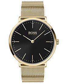 BOSS Men's Horizon Ultra Slim Gold Ion-Plated Stainless Steel Mesh Bracelet Watch 40mm