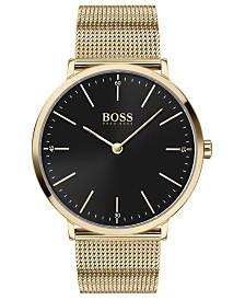BOSS Men's Horizon Ultra Slim Gold Ion-Plated Stainless Steel Mesh Bracelet Watch 40mm