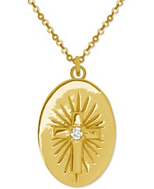"Cross Oval 18"" Pendant Necklace in Gold-Plate"