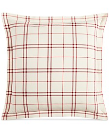 Martha Stewart Collection Ticking Plaid Flannel European Sham, Created for Macy's