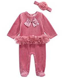 Baby Girls 2-Pc. Headband & Footed Tulle-Trim Coverall Set, Created for Macy's
