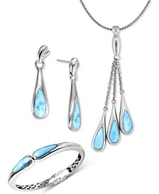 Indra Larimar Jewelry Collection in Sterling Silver