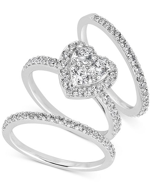 Macy's Diamond Heart Cluster Bridal Set (1-1/2 ct. t.w.) in 14k White Gold