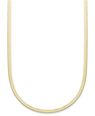 "18K Gold over Sterling Silver Necklace, 20"" Herringbone Chain"