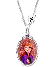 "Children's Frozen Anna Crystal Pendant in Sterling Silver, 16"" + 2"" Extender"