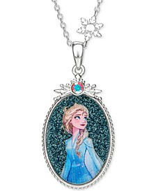 "Children's Frozen Elsa Crystal Pendant in Sterling Silver, 16"" + 2"" Extender"