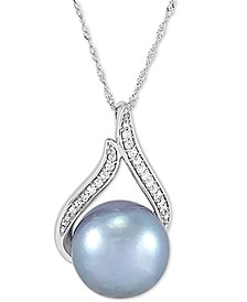 "Cultured Grey Ming Pearl (12mm) & Diamond (1/10 ct. t.w.) 18"" Pendant Necklace in 14k White Gold"