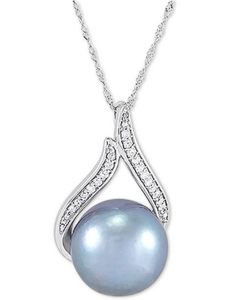 "Honora Cultured Grey Ming Pearl (12mm) & Diamond (1/10 ct. t.w.) 18"" Pendant Necklace in 14k White Gold"