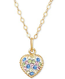 "Children's Multi-Color Swarovski Crystal Heart 15"" Pendant Necklace in 14k Gold"