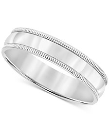 Men's Milgrain Band in Sterling Silver