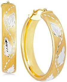 Two-Tone Leaf Hoop Earrings in 14k Gold-Plated Sterling Silver