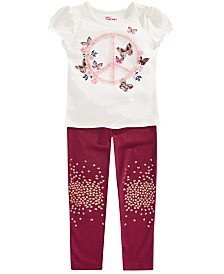 Epic Threads Toddler Girls Peace T-Shirt & Glitter Leggings, Created for Macy's