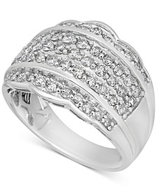 Diamond Scalloped Edge Band (1-1/10 ct. t.w.) in 14k White Gold