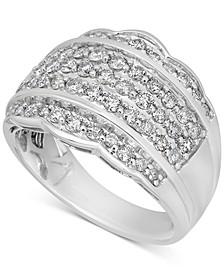 Diamond Scalloped Edge Band (1-1/10 ct. t.w.) in 14k White Gold