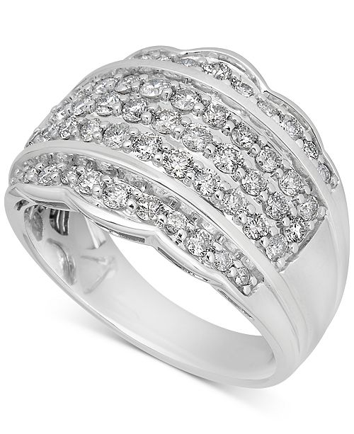 Macy's Diamond Scalloped Edge Band (1-1/10 ct. t.w.) in 14k White Gold