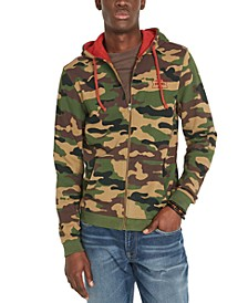 Men's Facoro Regular-Fit Camouflage Fleece Hoodie
