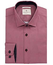 Con.Struct Men's Slim-Fit Stretch Neat Nailshead Pattern Dress Shirt