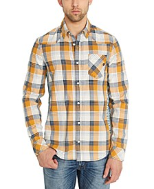 Men's Sidax Regular-Fit Pieced Plaid Shirt