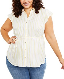 Plus Size Flutter-Sleeve Top