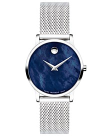 Women's Swiss Museum Classic Stainless Steel Mesh Bracelet Watch 28mm