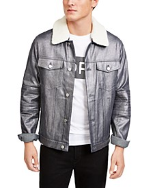 Men's Metallic Moto Trucker Jacket, Created For Macy's