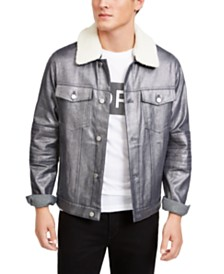 Michael Kors Men's Metallic Moto Trucker Jacket, Created For Macy's