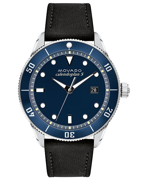Movado Men's Swiss Heritage Series Calendoplan Black Leather Strap Watch 43mm
