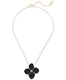 """Zenzii Gold-Tone & Suede-Painted-Finished Flower Pendant Necklace, 17"""" + 2"""" extender"""